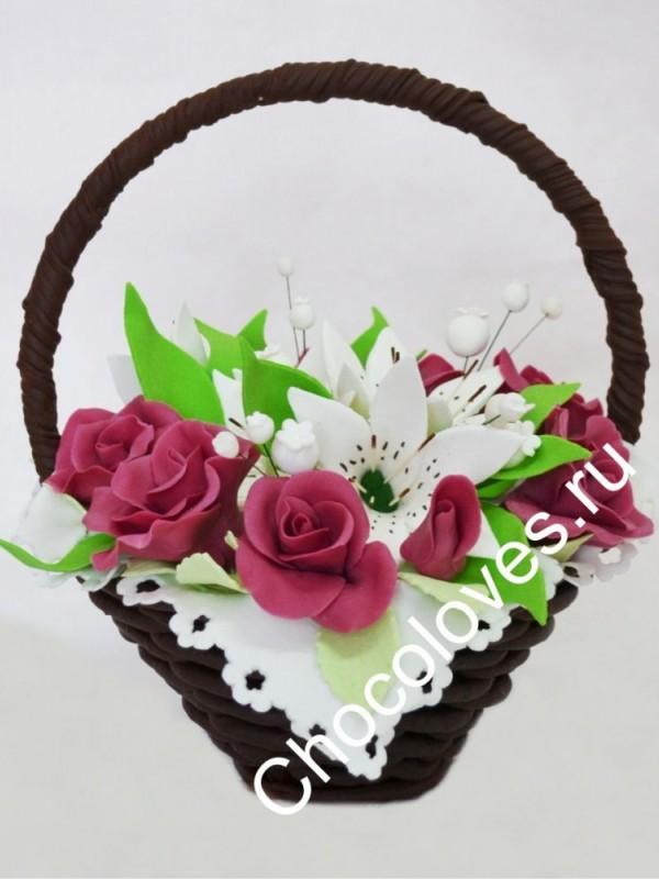 Шоколадный букет бордовых роз