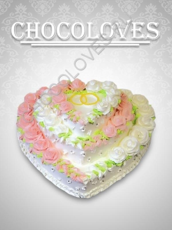 """Свадебный торт """"Двойное сердце"""""""