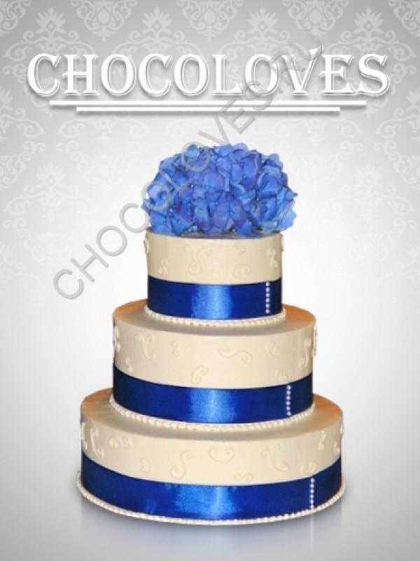 """Свадебный торт """"голубые розы"""""""