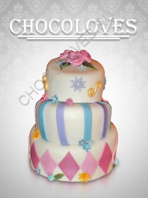 Оригинальный торт с ромбиками