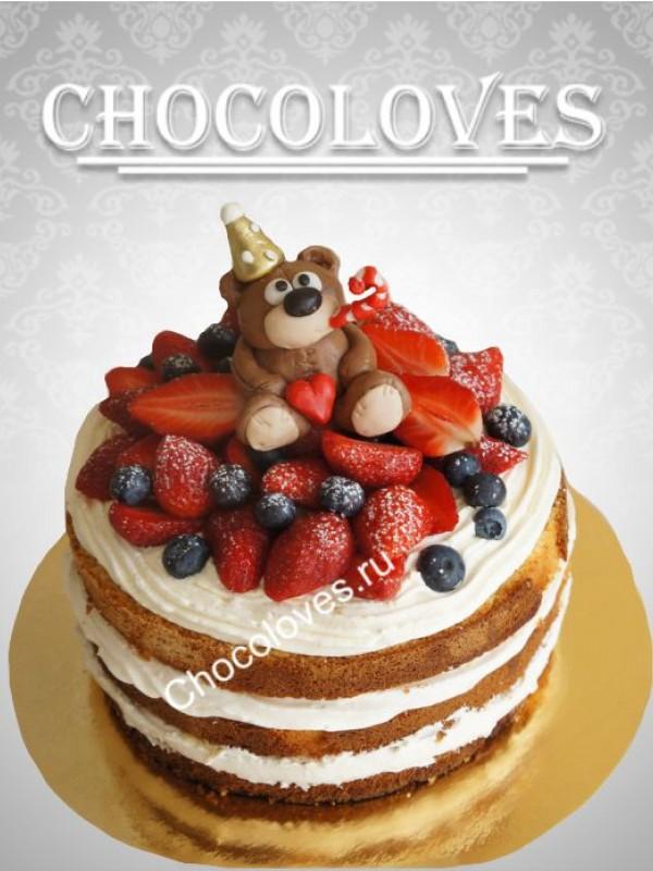 Детский торт без мастики с медведем