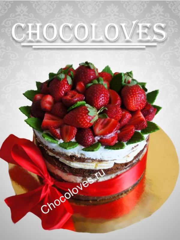 Свадебный торт одноярусный без мастики