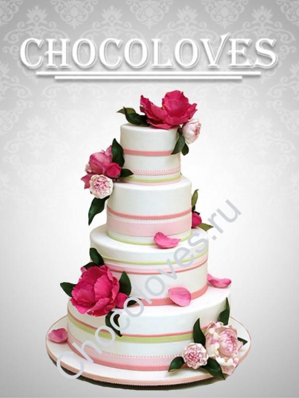 """Свадебный торт """"Цветочный каскад"""""""
