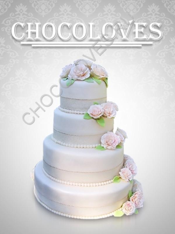 """Свадебный торт """"Цветочный небоскреб"""""""