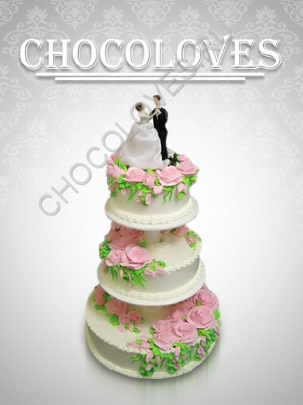 """Трехъярусный свадебный торт """"Вальс"""""""
