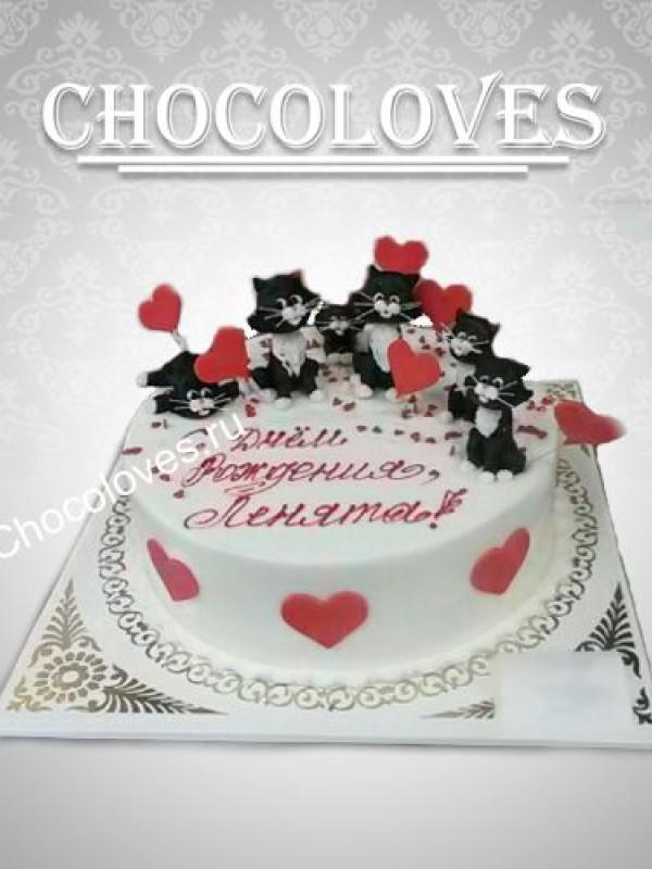 """Торт """"шесть черных котят"""""""