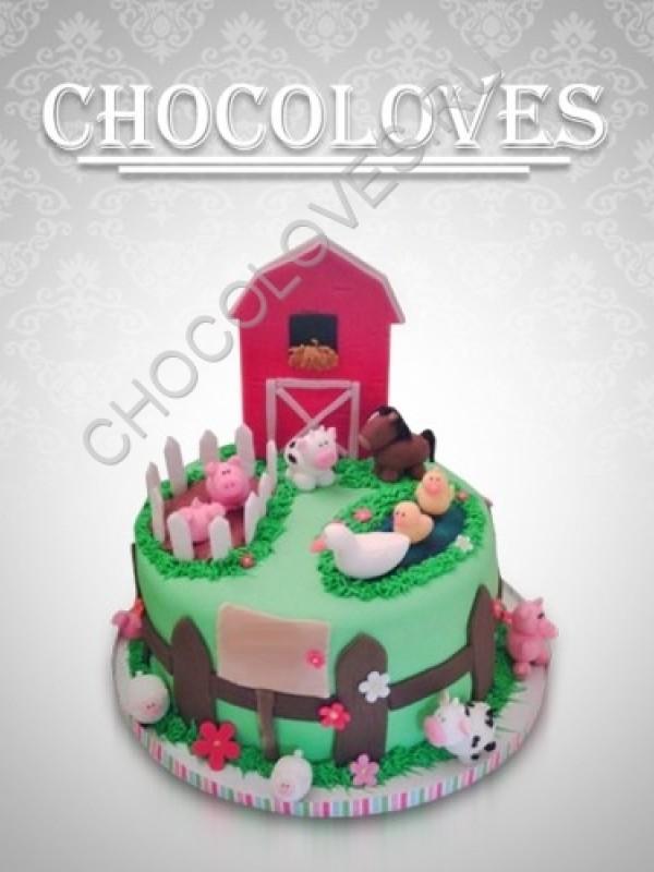 """Детский торт """"Веселая ферма"""""""