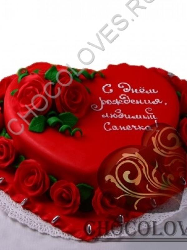 """Авторский торт """"Сердце в цветах"""""""