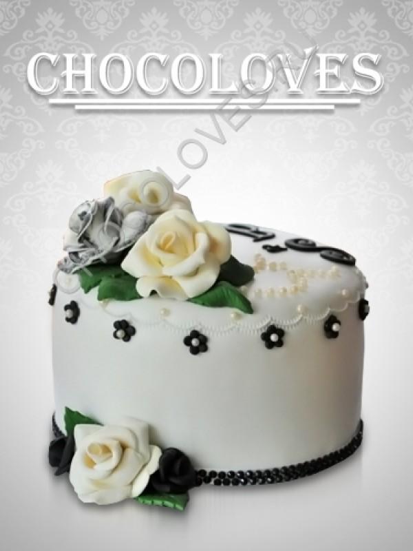 Свадебный торт с розочкой