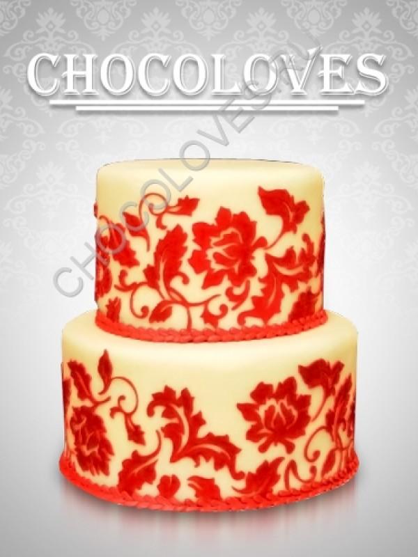 Оригинальный свадебный торт с рисунком