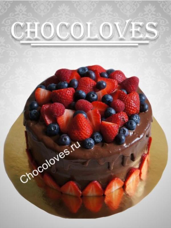 Детский торт без мастики с ягодами