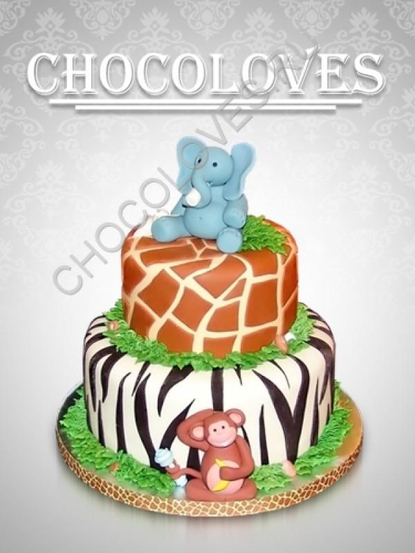 """Двухъярусный детский торт """"Слон и обезьянка"""""""