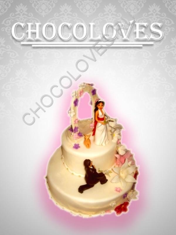 """Свадебный торт с фигурками """"Принцесса"""""""