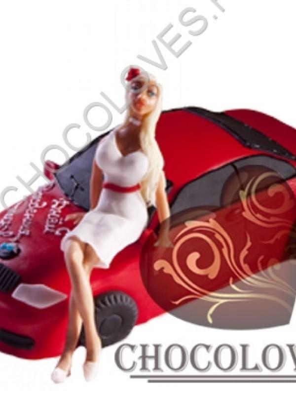 """Авторский торт """"Блондинка и BMW"""""""