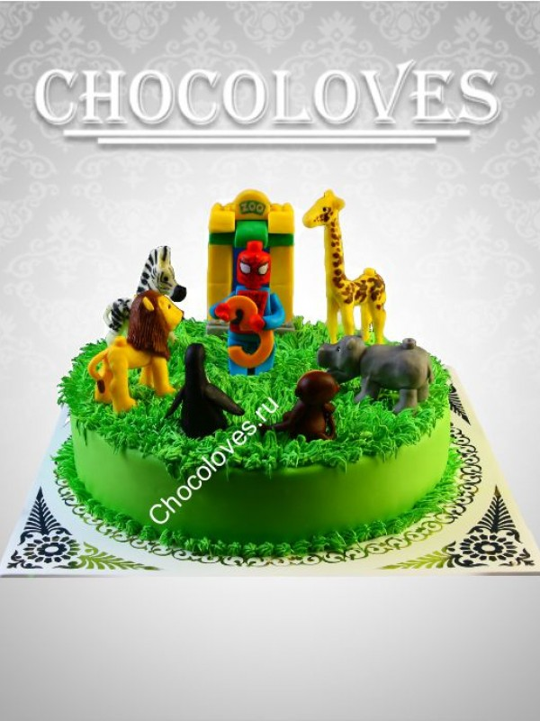 Авторский торт лего зоопарк