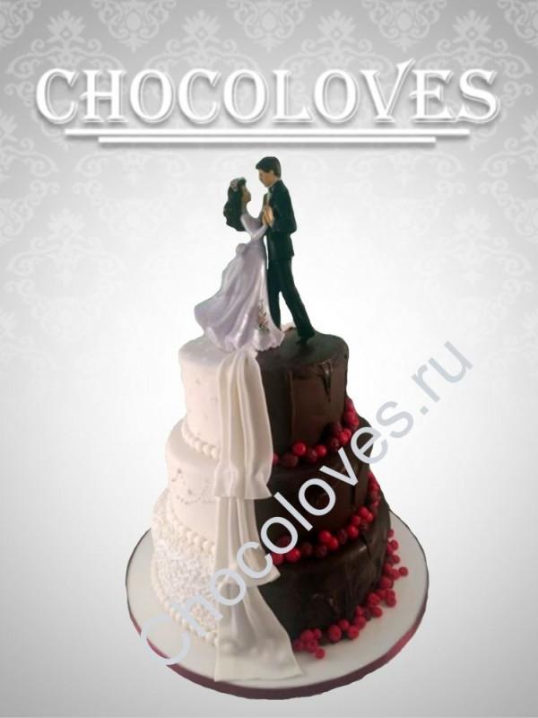 """Оригинальный свадебный торт """"Черное и белое"""""""