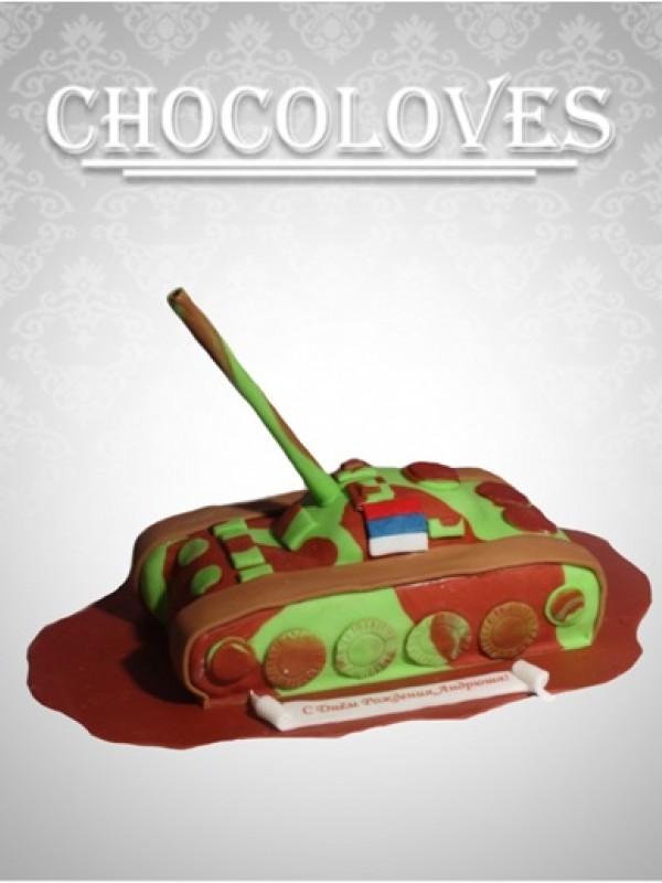 Детский торт в виде танка