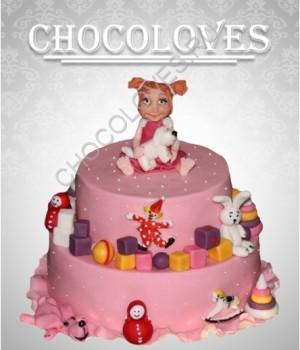 Двухъярусный детский торт для девочки
