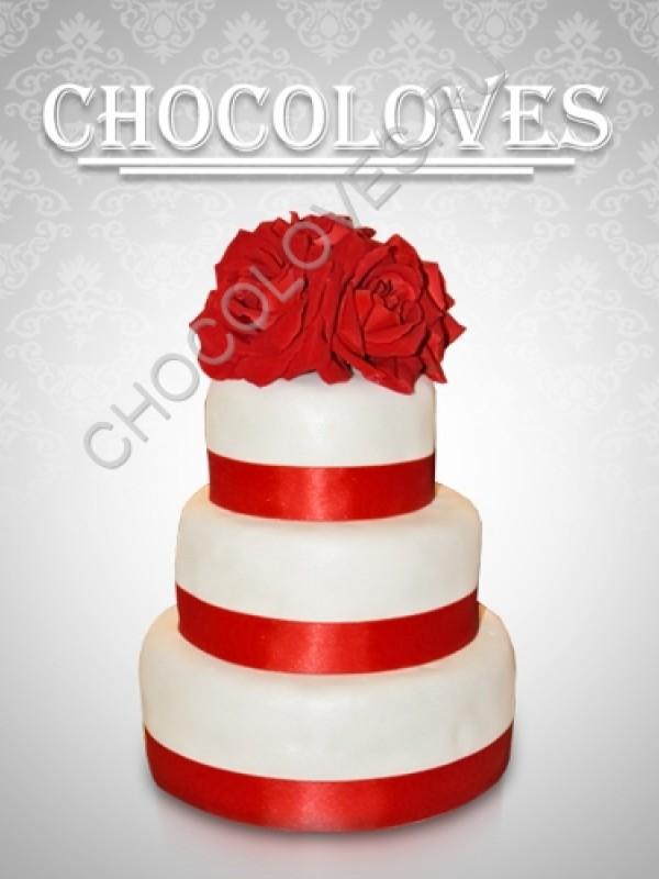 """Свадебный торт """"Красные розы"""""""