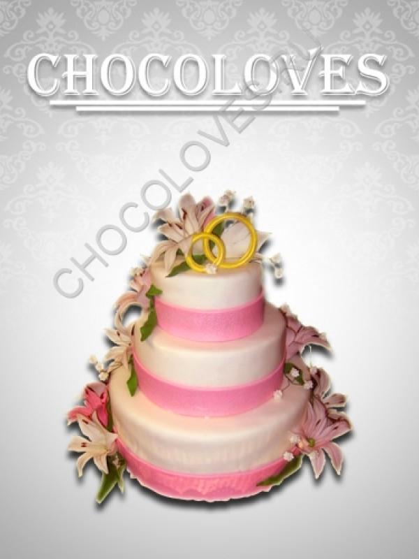 """Свадебный торт """"Водопад цветов"""""""