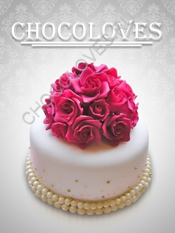"""Торт свадебный """"Букетик роз"""""""