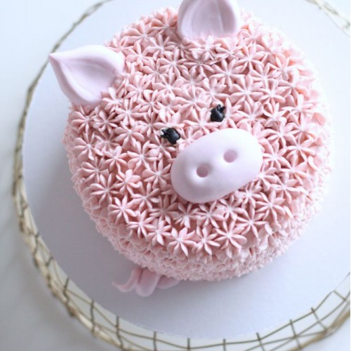 Торт без мастики в виде поросенка