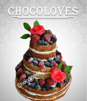 Красивый свадебный торт без мастики