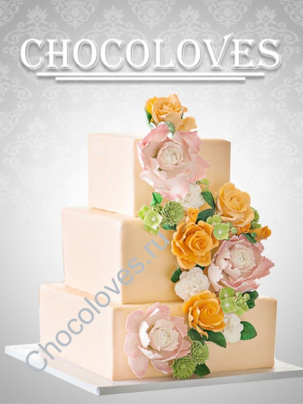 """Трехъярусный свадебный торт """"Совершенство"""""""