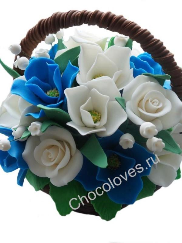 Шоколадная корзина с тюльпанами и розами