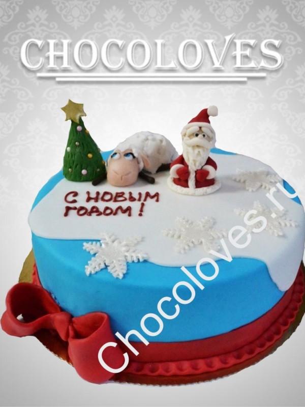 Детский торт на Новый год с овечкой