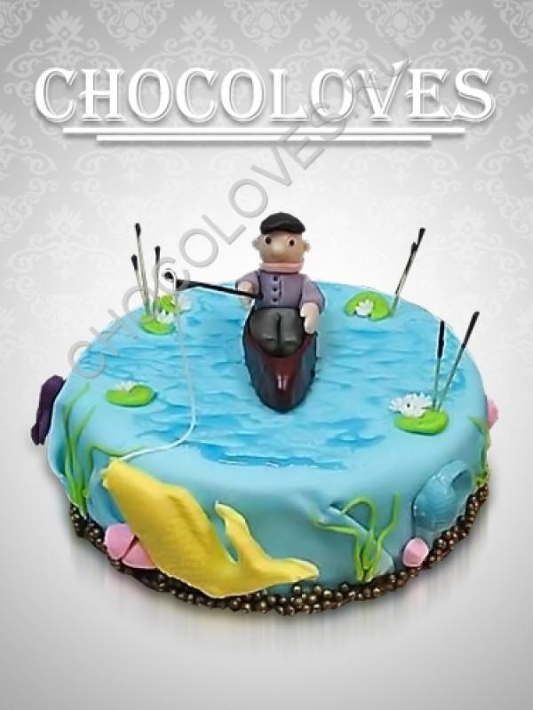 """Торт для мужчин """"Удачный рыболов"""""""