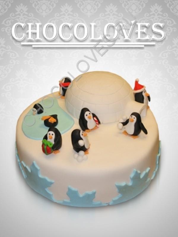 Детский торт с пингвинами