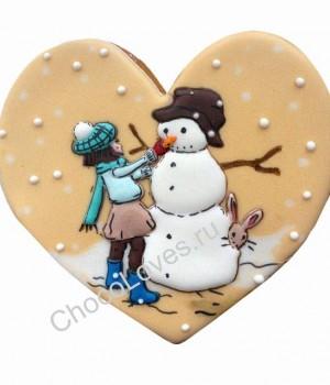 """Пряник в виде сердца """"Снеговик"""""""